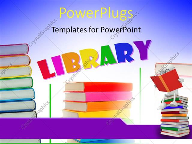 powerpoint template: a number of books with the word library (7671), Presentation templates