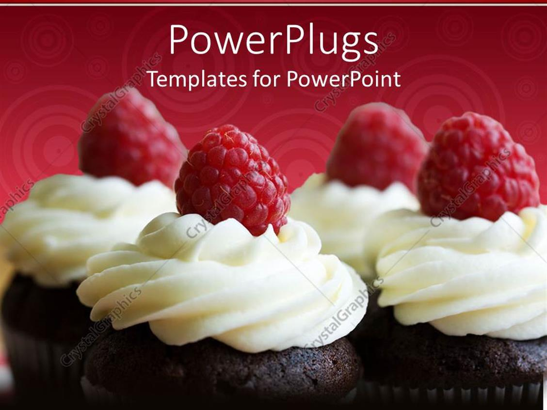powerpoint template a number of cupcakes with cherries and cream 16841. Black Bedroom Furniture Sets. Home Design Ideas