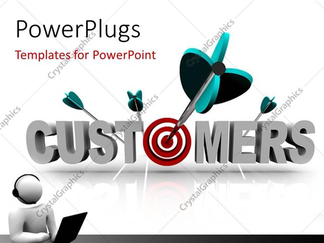 PowerPoint Template Displaying a Number of Darts off Target
