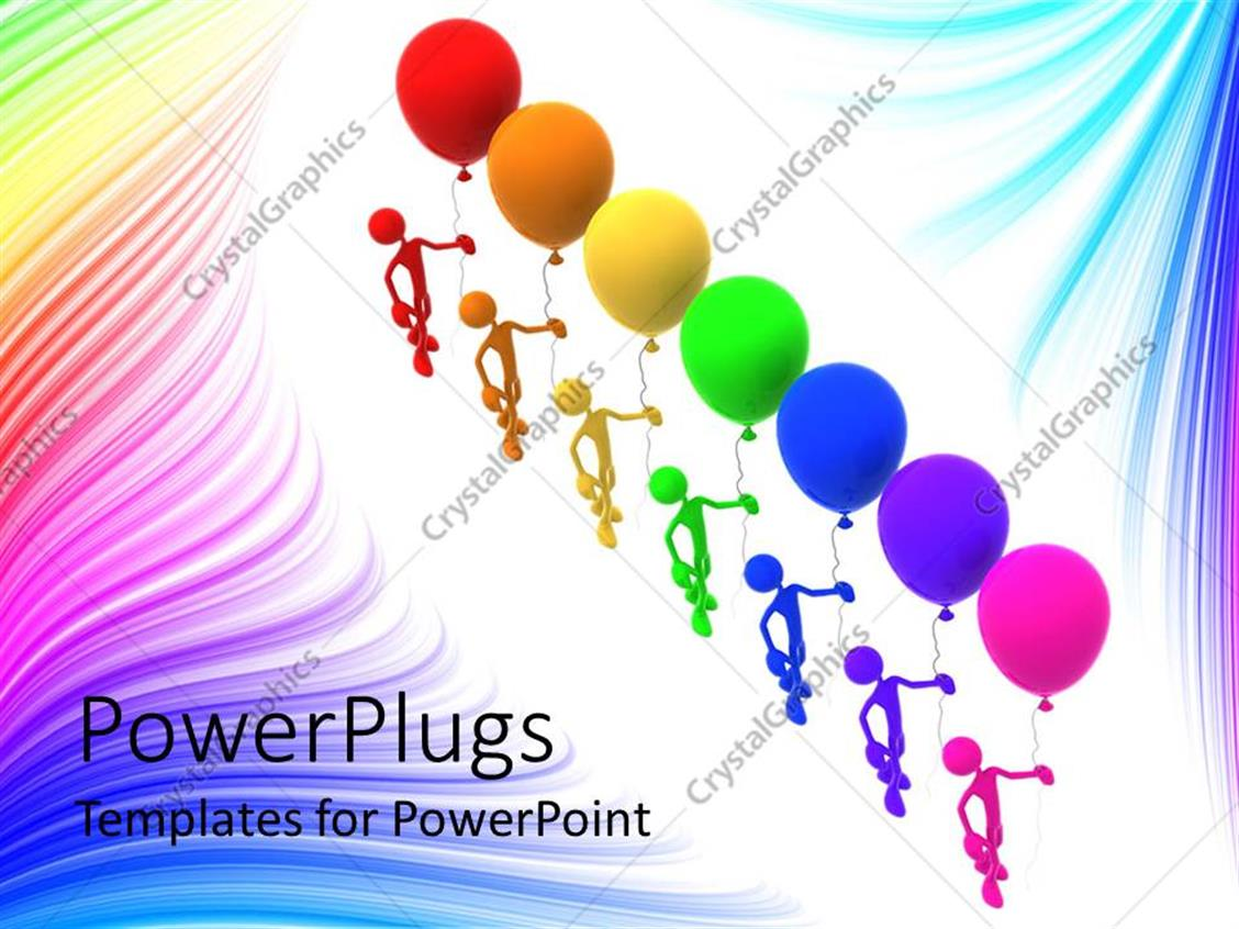 powerpoint template: a number of figures with balloons (15593), Powerpoint templates