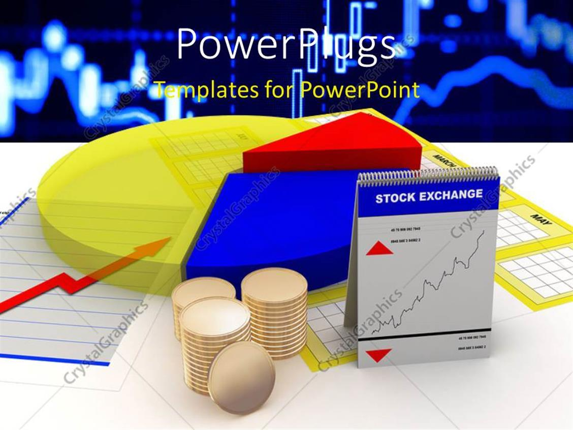 PowerPoint Template Displaying a Number of Things Related to Stock Market with Technology Related Background
