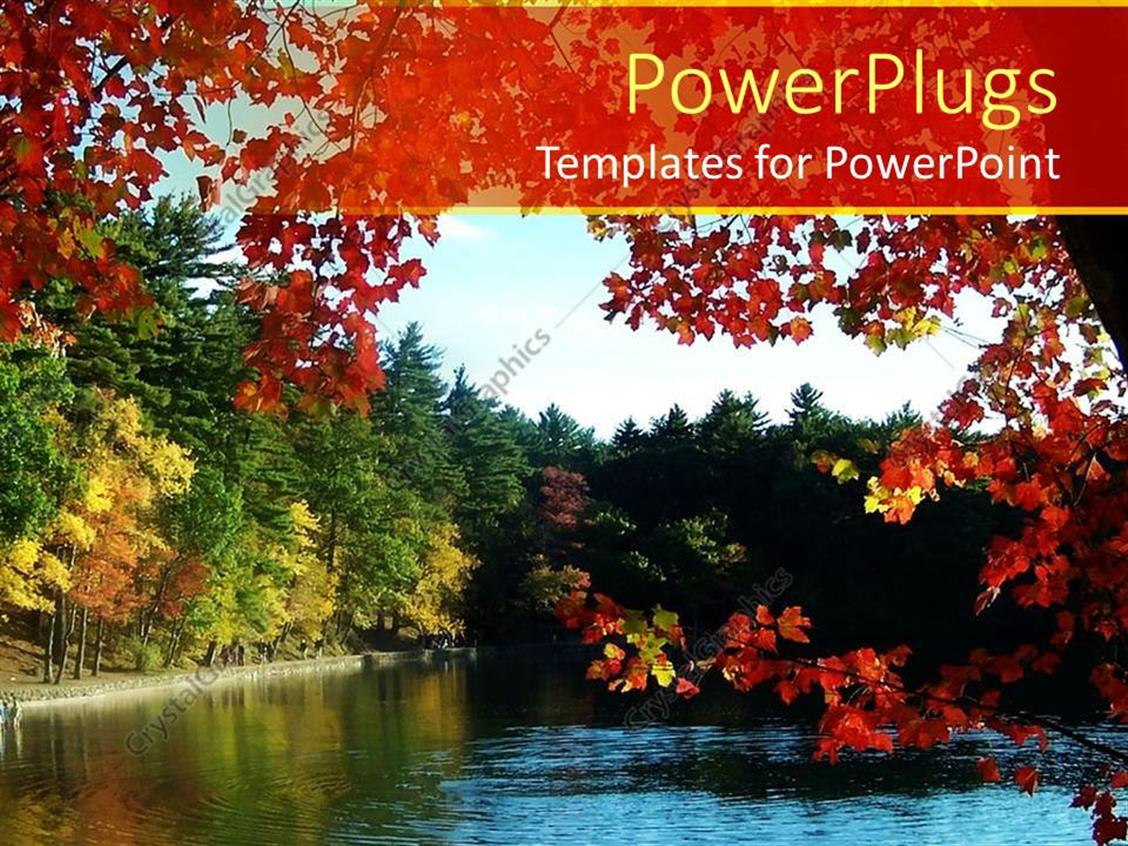 PowerPoint Template Displaying a Number of Trees Along with a River