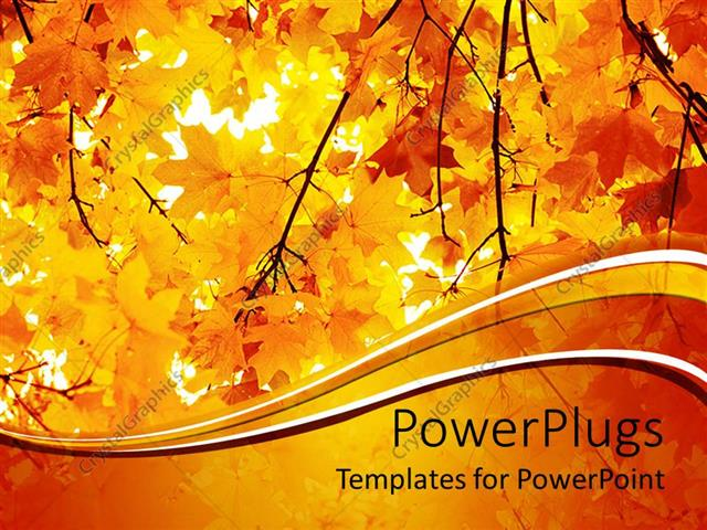 powerpoint template a number of yellow leaves during the fall, Powerpoint