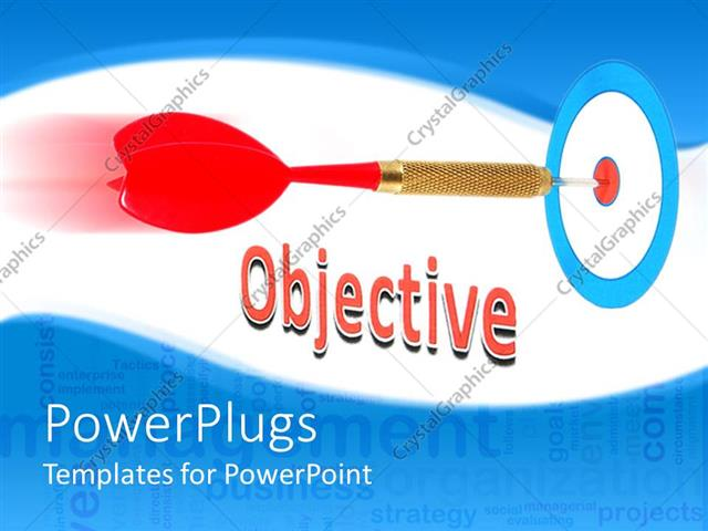 powerpoint template: objective with red dart hitting bulls eye on, Presentation templates