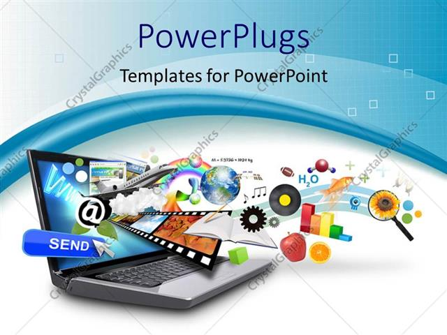 powerpoint template objects like email, earth, film strip, bar, Powerpoint