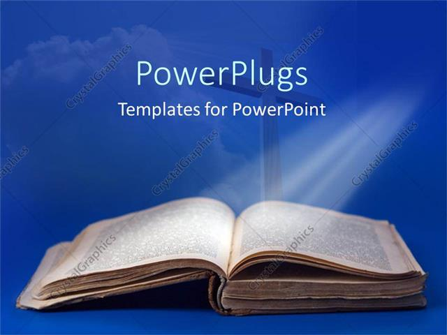 PowerPoint Template Displaying an Old Bible and Cross for Religious Studies on a Blue Background