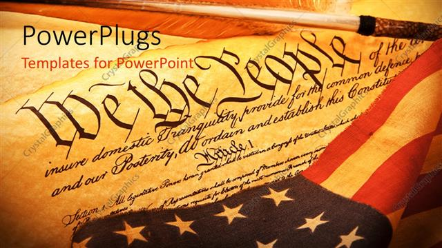 powerpoint template: old scroll of american constitution with the, Powerpoint templates