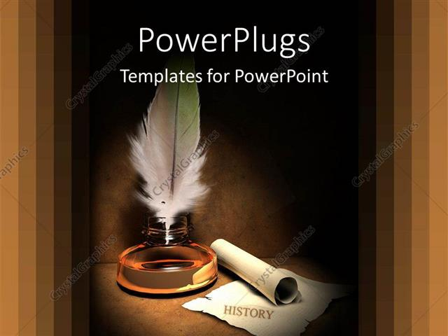 Powerpoint Template: Old Fashioned Gold Quill And Scroll For