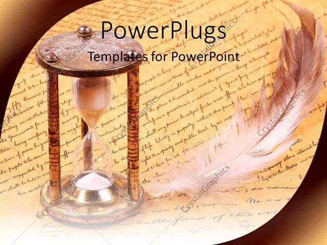 Powerpoint Template: Old Fashioned Hourglass And Feather With