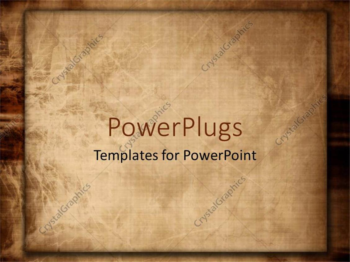 PowerPoint Template Displaying Old Fashioned Paper or Linen Worn Down on Brown Background