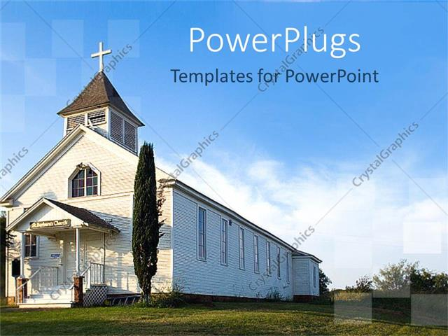 Powerpoint template old white country church with green field 25195 powerpoint template displaying old white country church with green field toneelgroepblik Choice Image