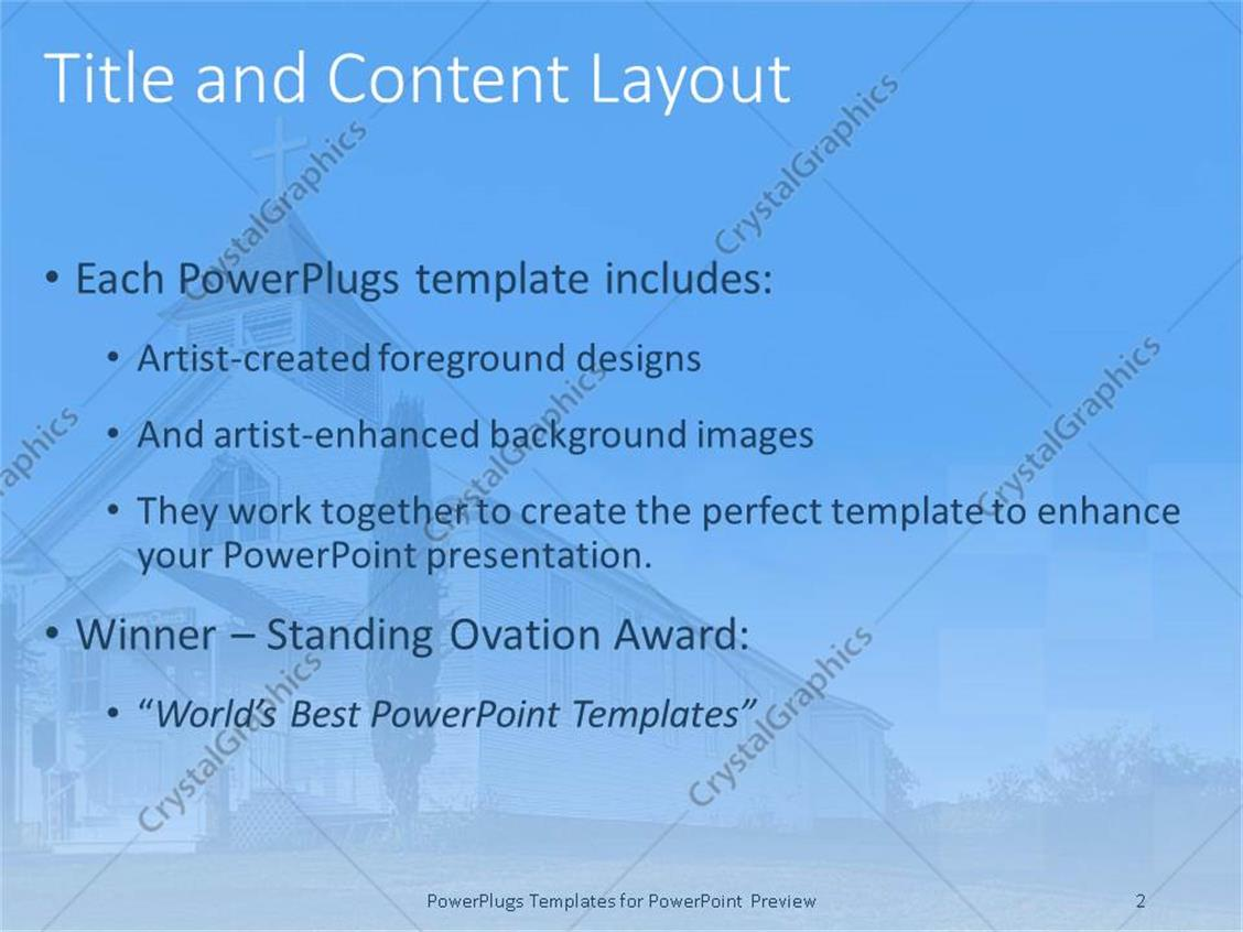 powerpoint template: old white country church with green field (25195), Presentation templates