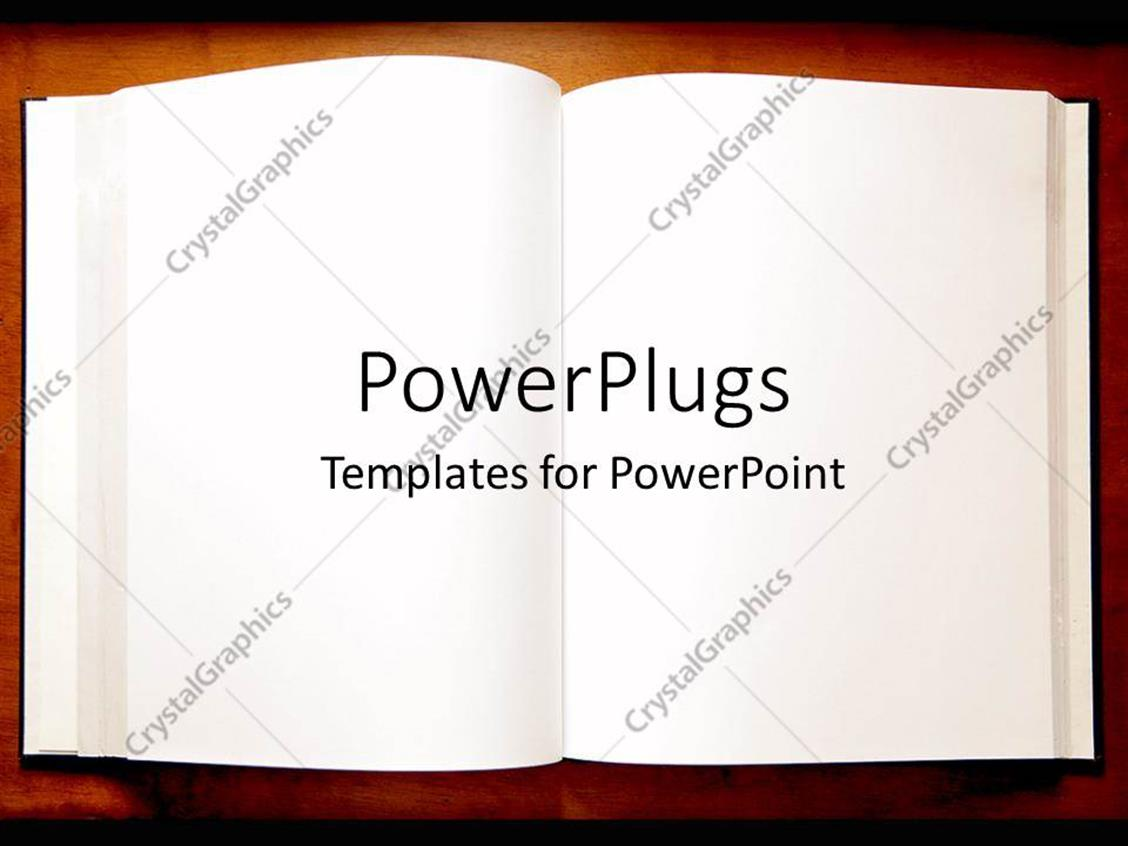 powerpoint template  an open book with blank pages as a metaphor on a brown background  10946