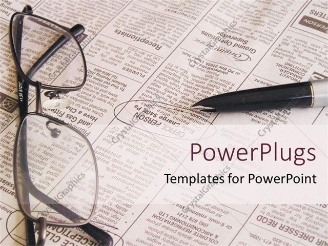 powerpoint template: open newspaper with pen and eyeglasses, job, Modern powerpoint