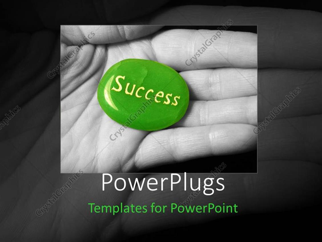 PowerPoint Template Displaying an Open Palm with a Green Pebble that has a Text Spelling Out the Word