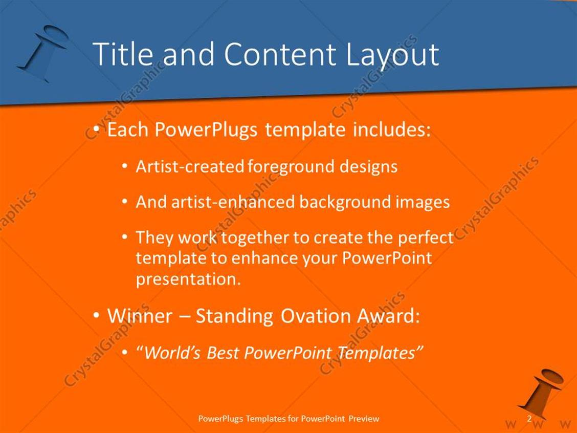powerpoint template: orange background with blue letter i (10445), Modern powerpoint