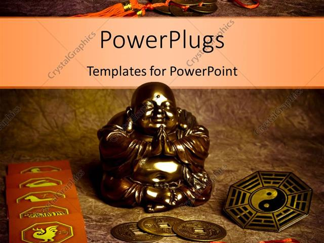 PowerPoint Template Displaying Oriental Coins and Religious Symbols Around Statue of Praying Buddha