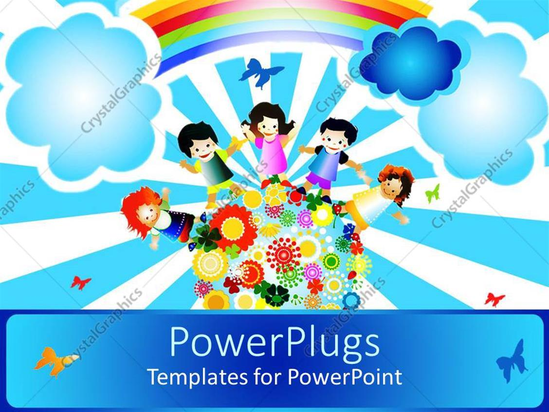 powerpoint template a painting of four happy school kids standing on an earth with flowers 15736. Black Bedroom Furniture Sets. Home Design Ideas