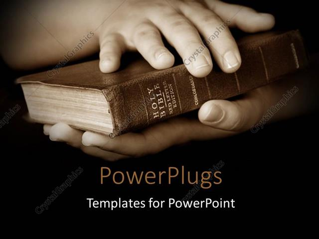 powerpoint template pair hands holding well read holy bible, Powerpoint