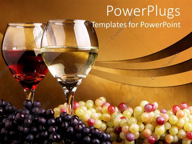 Powerpoint template pair of wine glass filled with wine and bunch powerpoint template displaying pair of wine glass filled with wine and bunch of white and black grapes toneelgroepblik Gallery