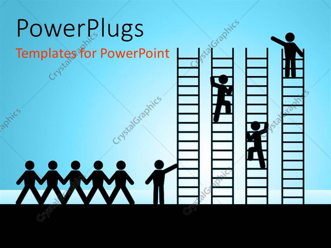 PowerPoint Template Displaying Paper Chain Figures Business Man Climbing Ladder of Success and Getting Job Promotion