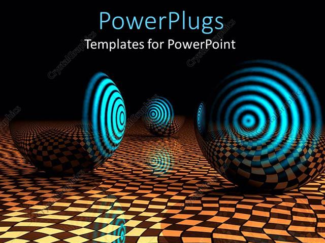 PowerPoint Template Displaying Partly Transparent Spheres with Glowing Glossy Blue Target on Abstract Checkered Floor