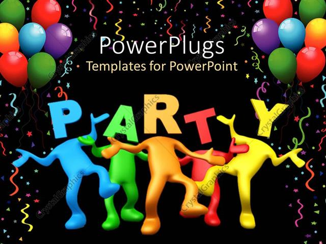 powerpoint template party celebration balloons birthday dancing black background 23067. Black Bedroom Furniture Sets. Home Design Ideas