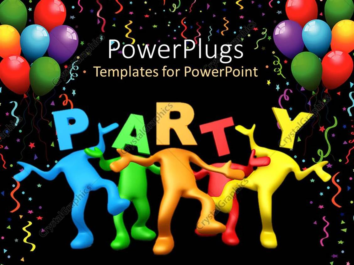 Completely Satisfied Birthday Wallpapers: PowerPoint Template: Party Celebration Balloons Birthday