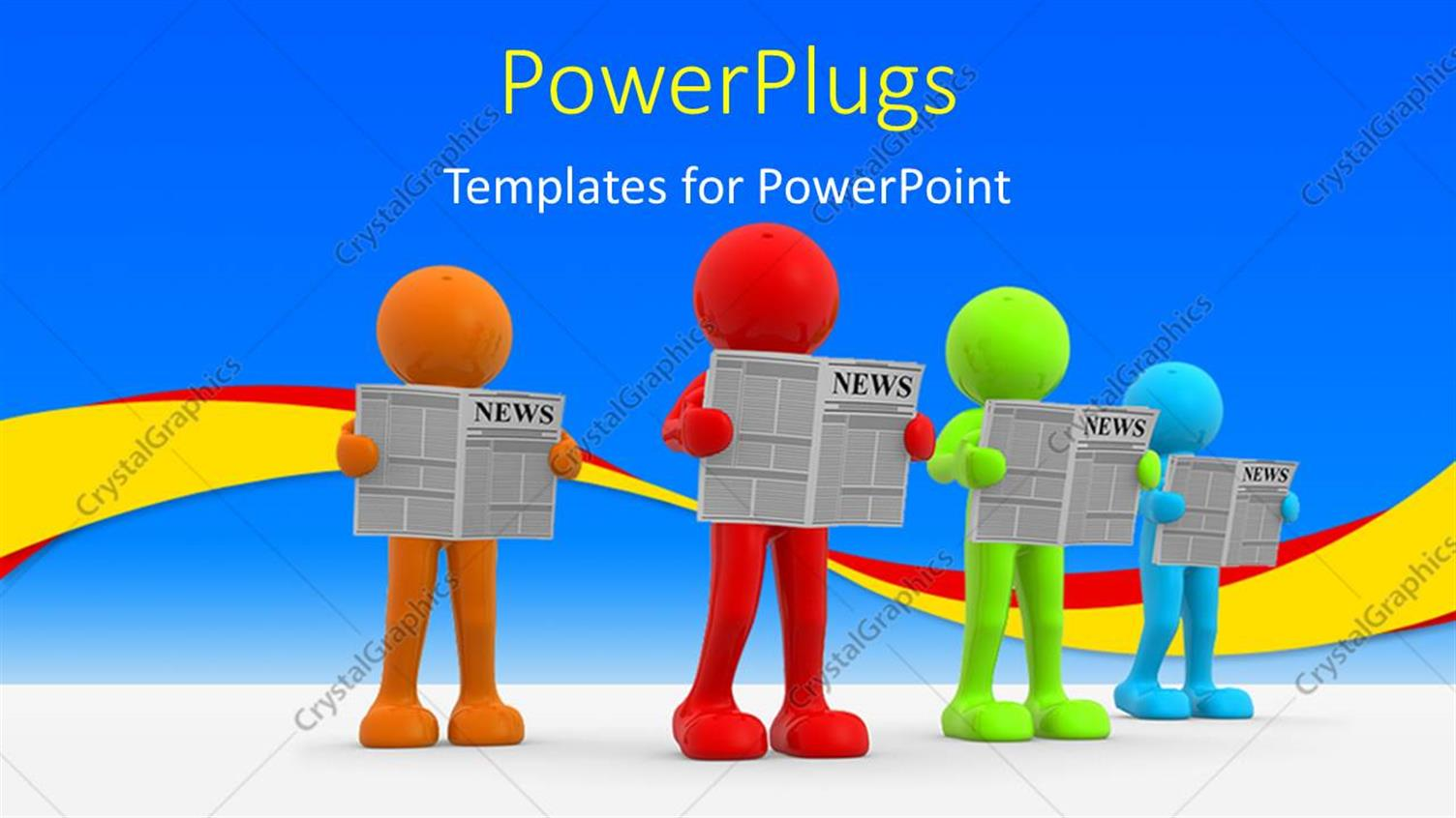 PowerPoint Template Displaying Four Multi Colored 3D Human Characters Reading Papers