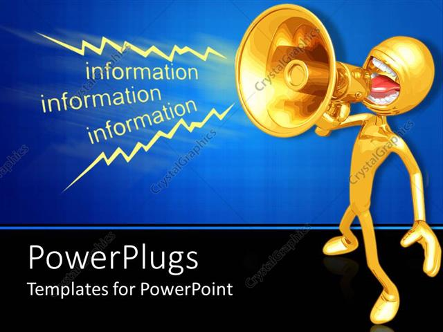 powerpoint template: a person announcing information with blue, Presentation templates