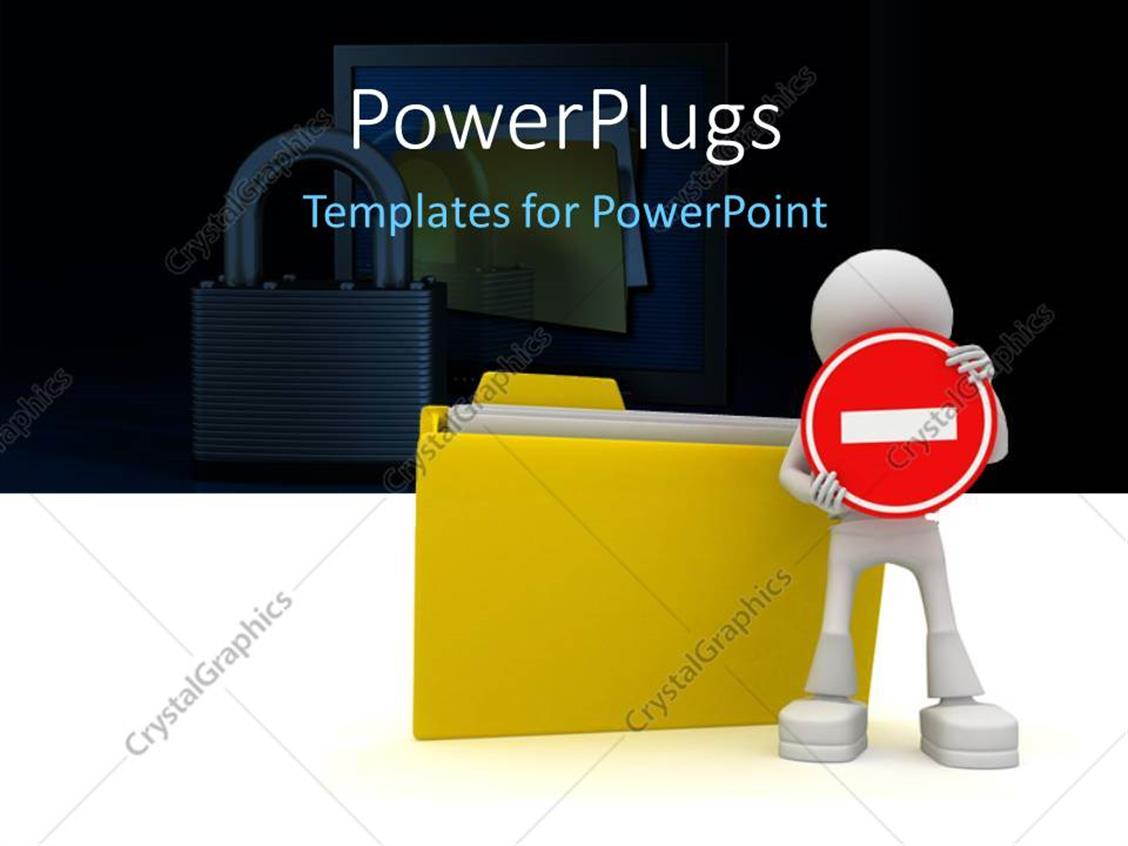 PowerPoint Template Displaying a Person with a File Folder and Lock in Background