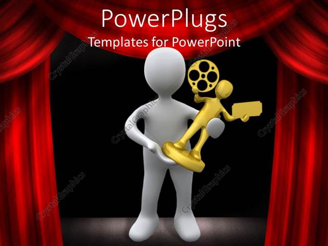 powerpoint template: a person holding a film award with curtains, Modern powerpoint