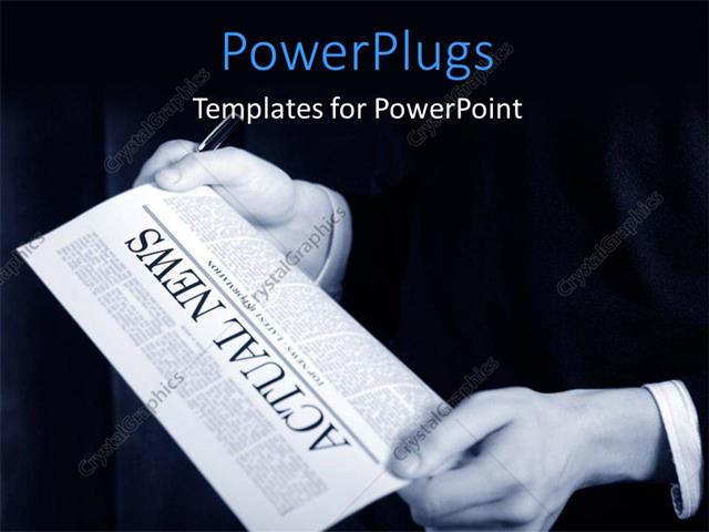 PowerPoint Template Displaying a Person Holding the Newspaper with Blackish Background