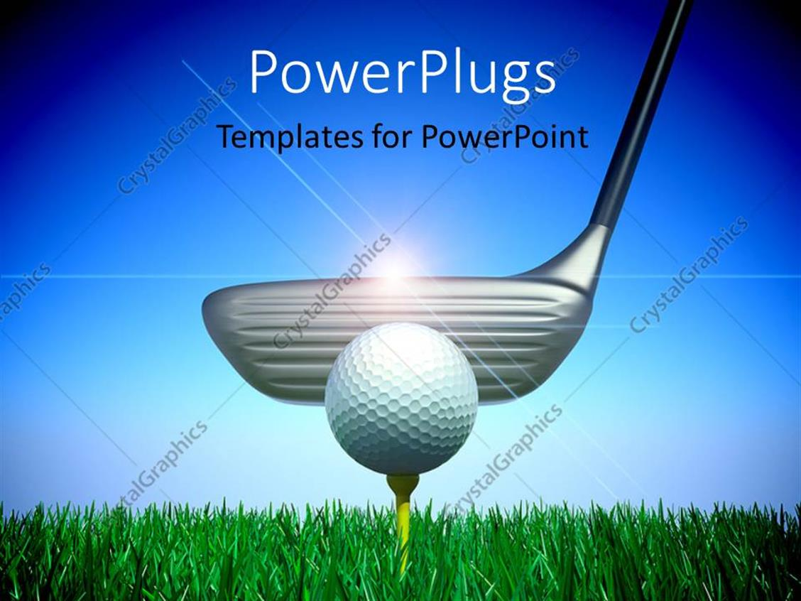powerpoint template a person playing golf with sky in the background 1408. Black Bedroom Furniture Sets. Home Design Ideas