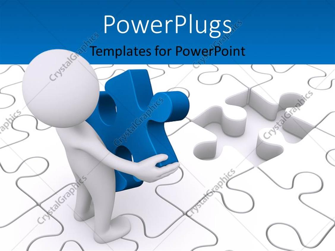 PowerPoint Template Displaying a Person with a Puzzle Piece in Hand