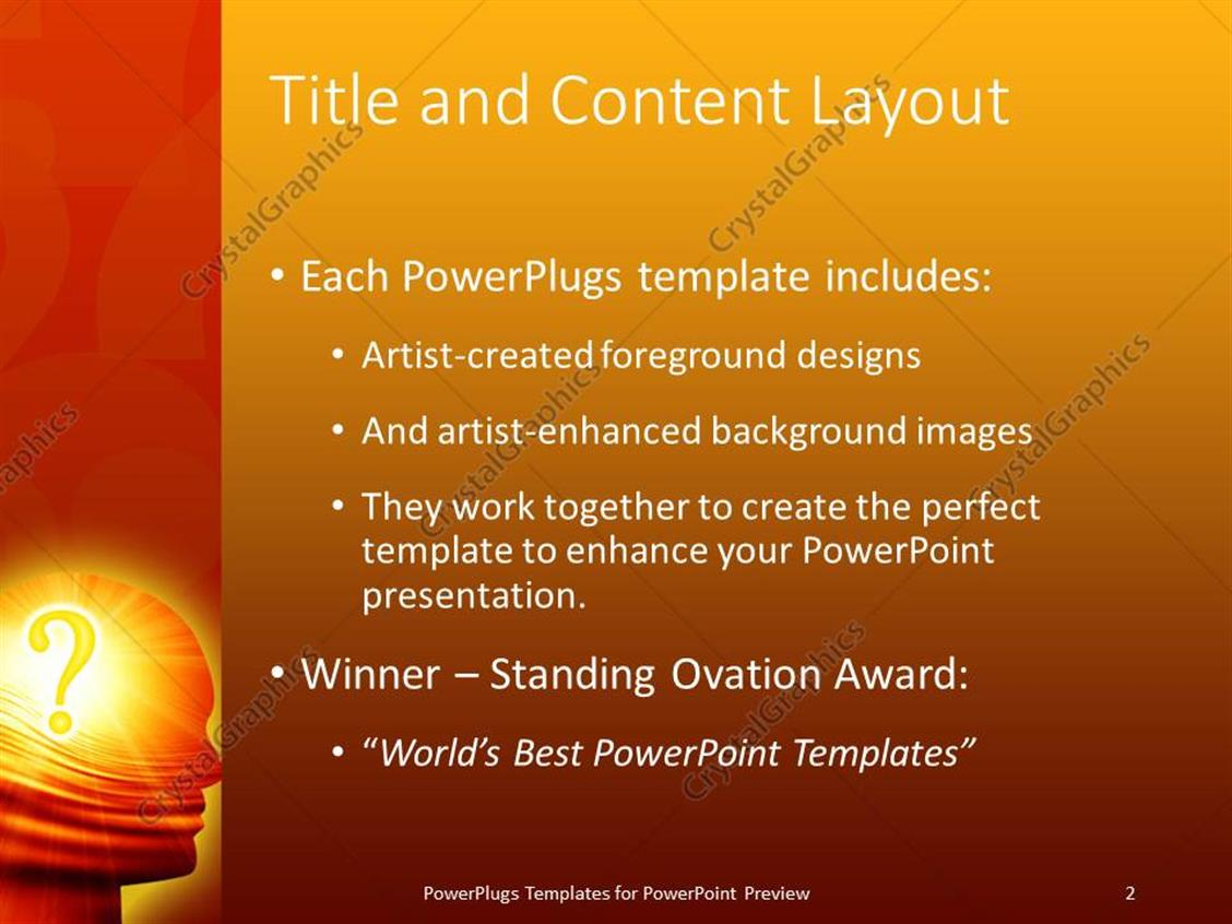 Powerpoint template a person with a question mark in his mind and powerpoint products templates secure standing ovation award toneelgroepblik Gallery