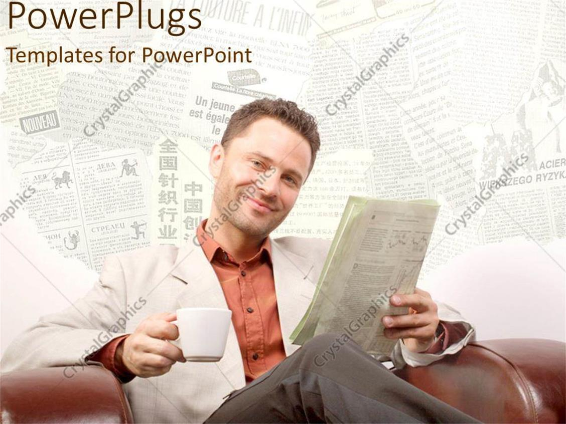 PowerPoint Template Displaying a Person Reading the Newspaper with the Newspapers in the Background