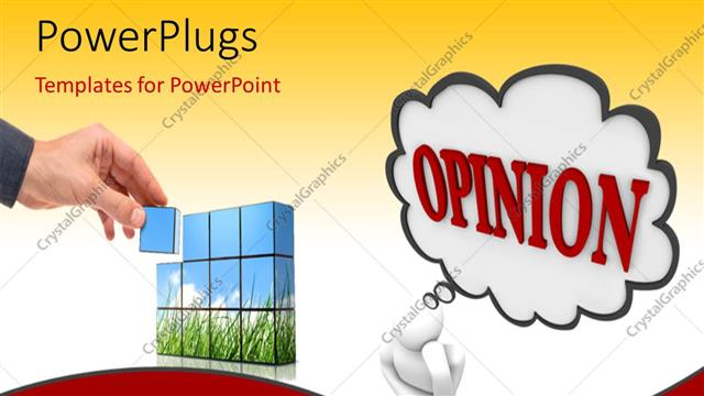 powerpoint template: 3d man deep in thought with opinion in speech, Powerpoint templates