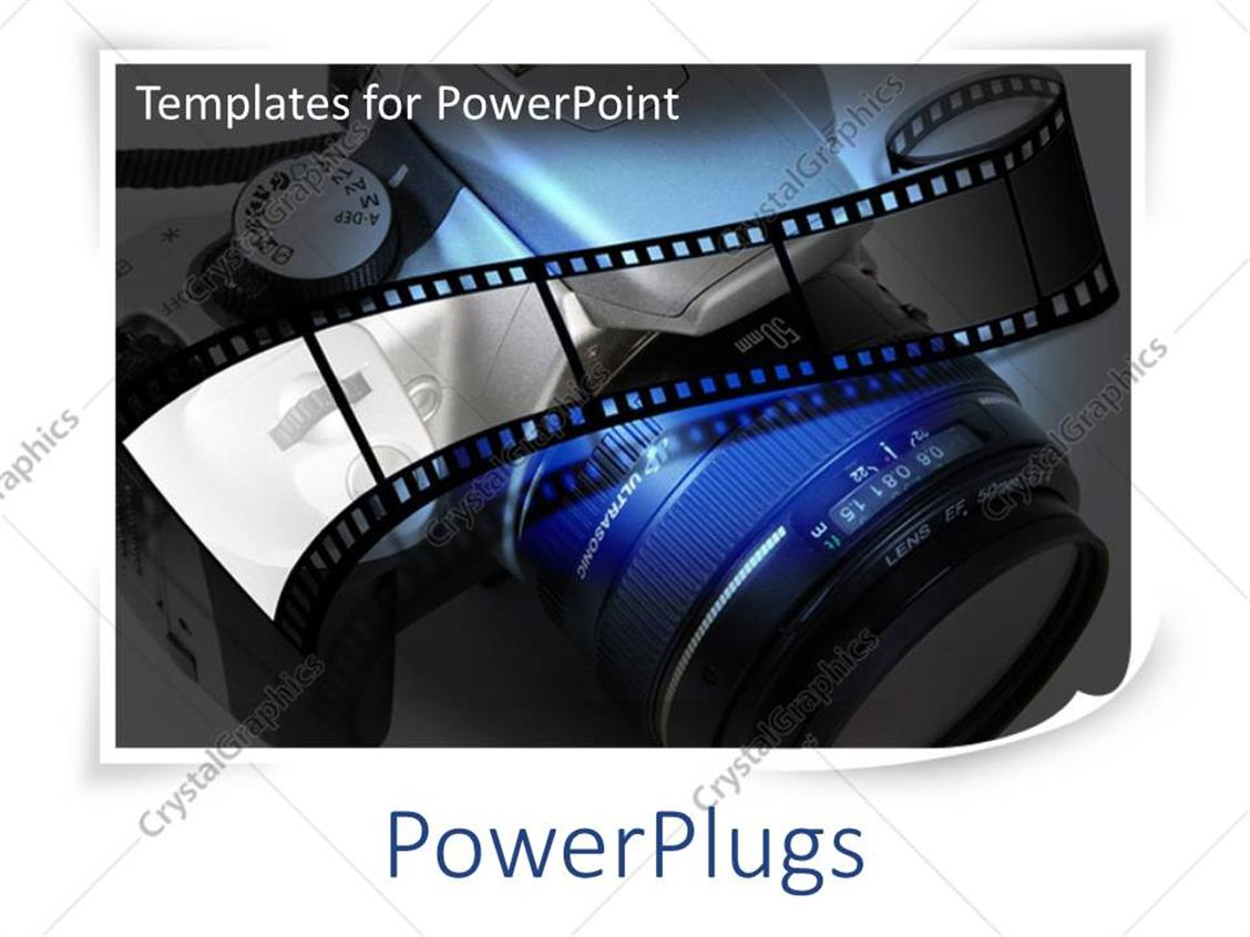 powerpoint template: photography with film and slr camera lens in, Modern powerpoint