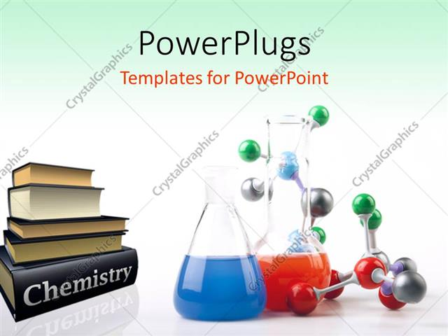 Powerpoint Template Pile Of Chemistry Textbooks With Colored