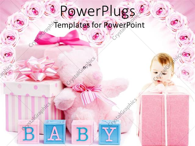 powerpoint template pink baby shower gifts for girl, blocks, Powerpoint