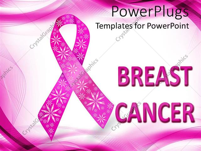 Powerpoint template pink breast cancer awareness ribbon for Breast cancer powerpoint presentation templates