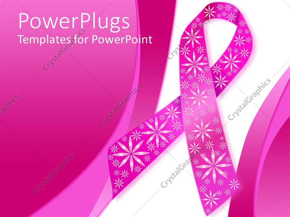 Powerpoint template pink breast cancer ribbon with for Breast cancer ppt template