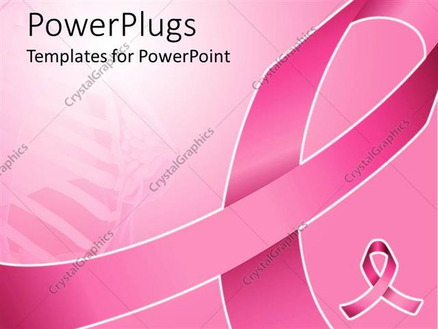 powerpoint template: pink ribbon for fighting breast cancer with, Powerpoint templates