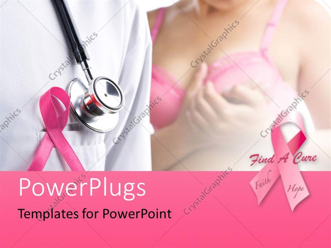 Powerpoint template pink ribbons depiction breast cancer for Breast cancer ppt template