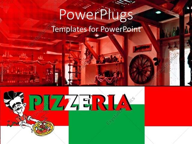 powerpoint template: pizzeria word written in italy's colors on, Modern powerpoint