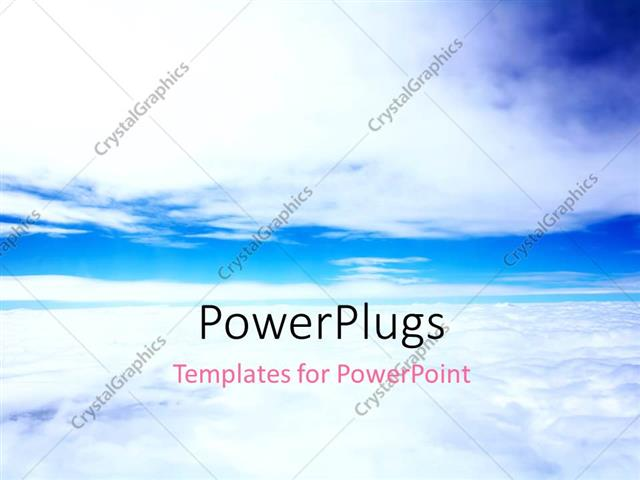 powerpoint template: plain blue sky with white clouds (7451), Modern powerpoint