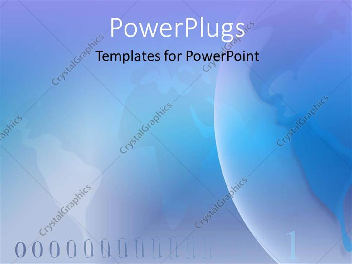PowerPoint Template Displaying a Plain Light Blue Abstract Background of a World Map