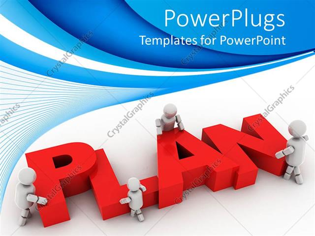 PowerPoint Template Displaying Plan Ahead Graphics Strategy for Business on a Blue Background