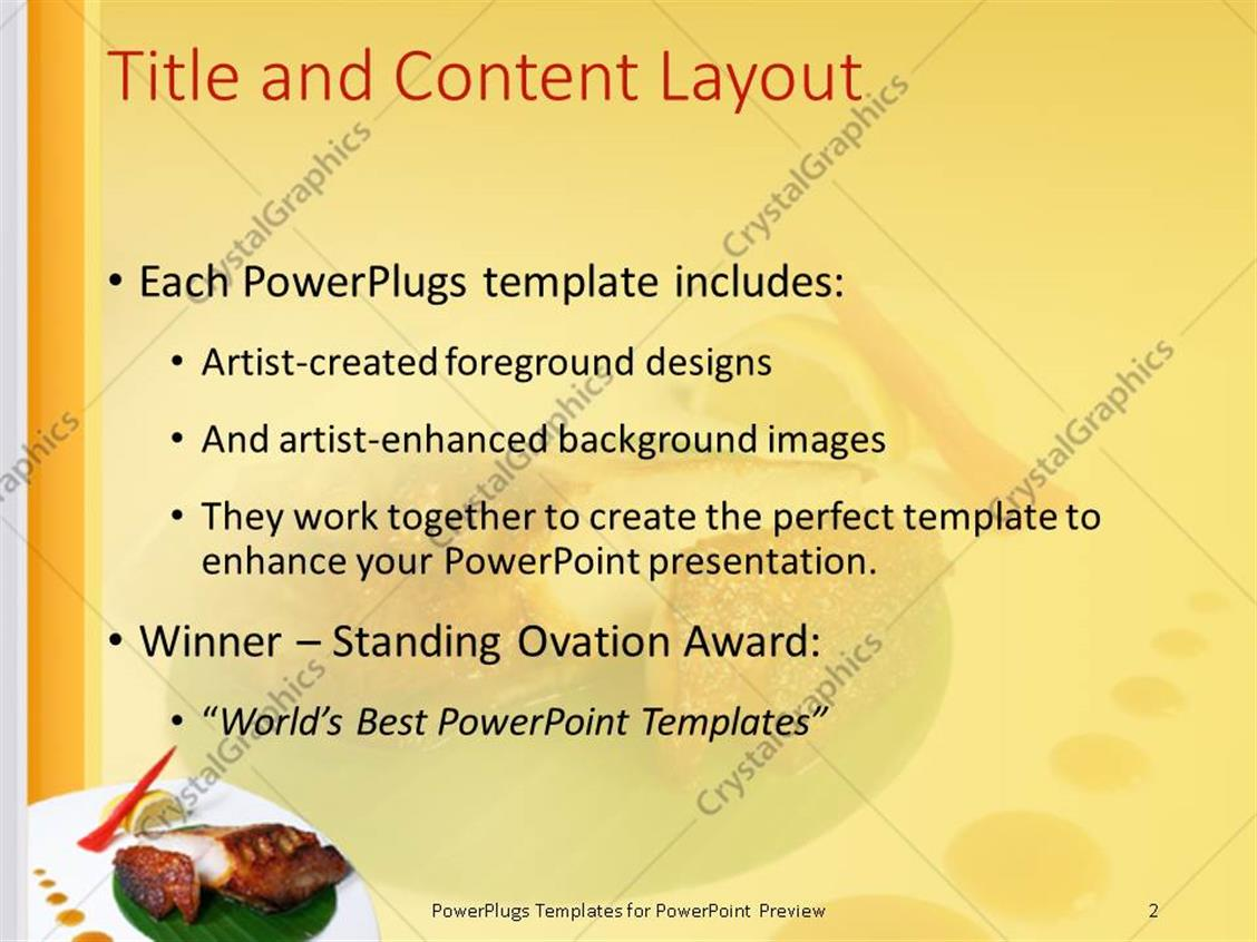 powerpoint template: plate with japanese food with a lemon and, Powerpoint templates